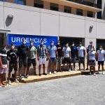 Los jugadores del Balonmano Benidorm se someten a los test Covid-19 en IMED Levante